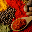 An array of spices including paprika, peppercorns, turmeric, nutmeg